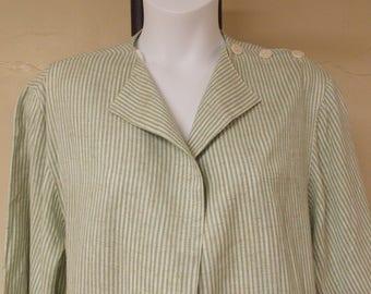 John Meyer vintage long jacket top blazer, no front closures or collar, mint green/white stripe