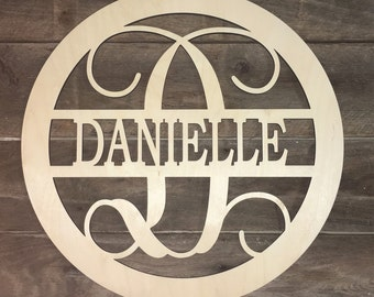 Personalized Monogram Initial with Name, Home Decoration, Custom, Wall Hanging, Door Hanging, Wooden, Unfinished