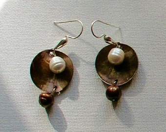 Bronze shell,  pearl and sterling silver earrings