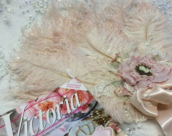 As Seen in Victoria Magazine - Marie Antoinette ostrich feather and floral fan bouquet with miniature mirror - Custom Made for YOU