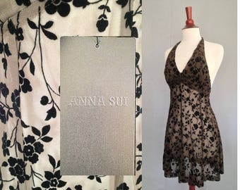 Size 6 Anna Sui Vintage 1990s Dress with Original Hang Tag / Halter Style Mini in Brown Chiffon / 90s Party Prom Skater Style / XS