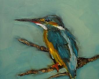 KINGFISHER BIRD Art Giclee Colette Davis print from my original oil painting