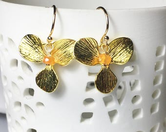 Carnelian Gold Flower Leaf Earrings
