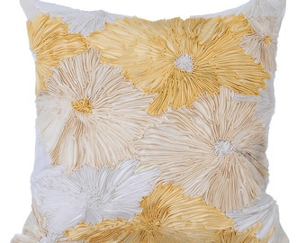 """Handmade Ribbon Throw Pillows Cover, 16""""x16"""" Ivory Silk Pillow Covers, Designer Square Ribbon Embroidery Pillow Cover - Dandelion"""