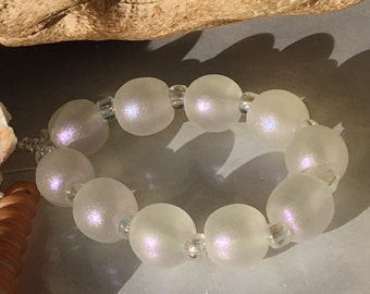 Handmade Lampwork Glass Beads SRA White Violet Shimmering Sea Pearl Rounds (10)