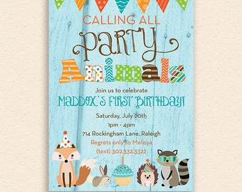 Party Animals - Woodland Forest Animal Birthday Party Invitation (Digital Printable File) - Fox, Bunny, Hedgehog, Racoon, Woodgrain, Cupcake