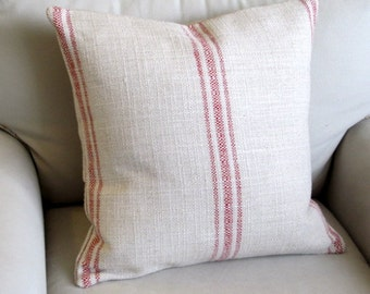 French Laundry  pillow cover RED Stripes 20x20