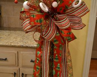 Glittered Christmas Tree Ribbon Tree Topper