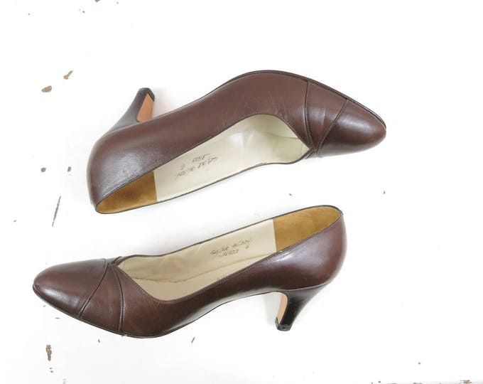 Brown Leather Heels - Vintage Heels Pumps Brown Leather - Johnston and Murphy Heels Size 6