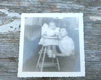 Vintage aprox 1960s old French black & white photography  sisters