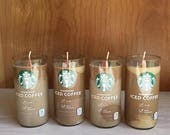 25 PERCENT Off Starbucks Iced Coffee Candle Shabby Chic OOAK One of a Kind Artistic Natural Soy Wax Frosty Icy Unique Look Coffee Scented