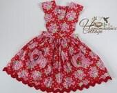 I Heart U Valentine Pinafore,  Dress Ready to Ship, Size 8
