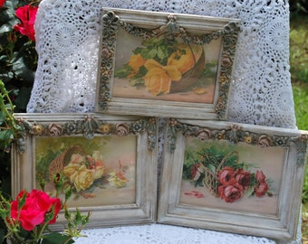 """French Country set of 3 Barbola 5""""x7"""" Frames with Catherine Klein digital art - Shabby Cottage Chic, Paris Apartment, Romantic Home, Ornate"""