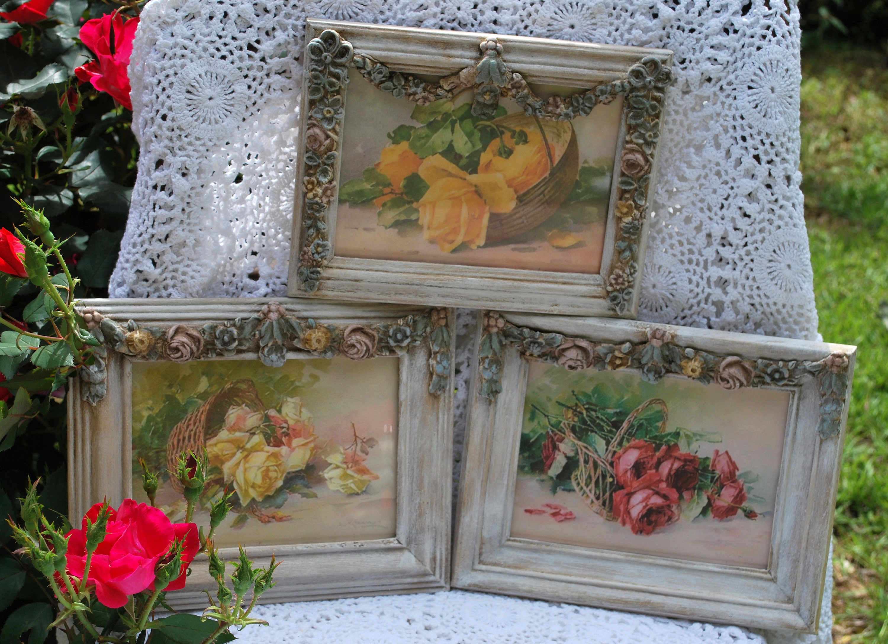 French country set of 3 barbola 5 x7 frames with - Il cottage paris ...