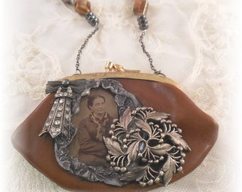 Tin Type Vintage Brown and Pewter Coin Purse Necklace