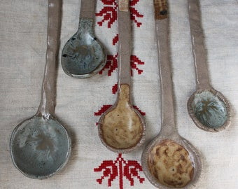 5 Beige Ceramic Spoons- Serving Spoons - Pottery - Rustic - Home decor