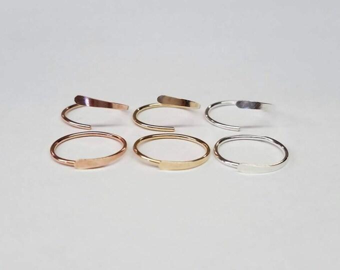 Sleeper Hoop Earrings Gold Rose Gold Sterling Silver Small Hoops