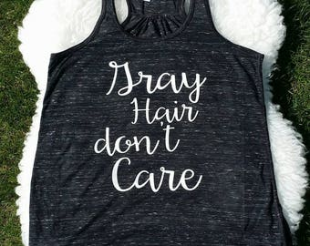 Gray Hair don't care - Womens Tank Top - Black/Gray Slub