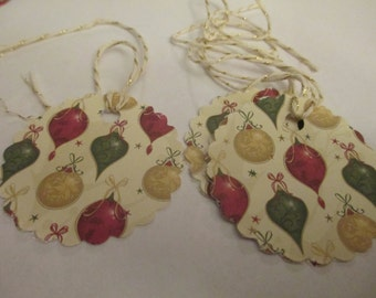 8 Holiday Christmas Ornament Gift Hang Tags