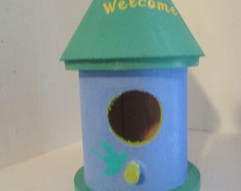 Green and Blue Birdhouse Home Garden Decor Jenuine Crafts