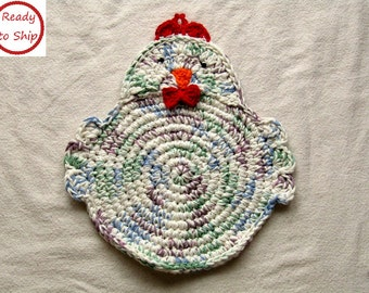 Crocheted Chicken trivet - Hot Pad - Pot Holder - Kitchen Decor - Handmade - Ready to Ship - Housewarming Gift - Gift for Mom