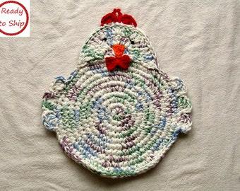 Crocheted Chicken trivet - Hot Pad - Pot Holder - Kitchen Decor - Handmade - Ready to Ship - Housewarming Gift - Gift for Mom