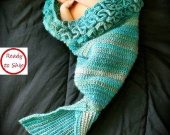 Mermaid Tail Blanket for Baby - Mermaid Tail Cocoon, Ready to Ship, The Little Mermaid, Baby Shower Gift,  Photo Prop, Handmade, New Born
