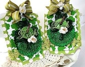 st patricks day tags ornaments-SET OF TWO st patties day tags