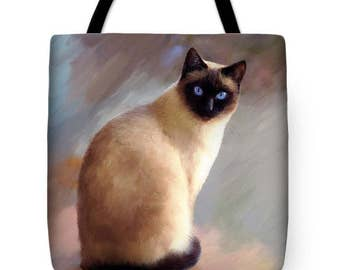 Tote Bag Artbylucie Totes Cat 613 siamese All over print from digital art by L.Dumas