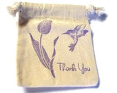 6 Muslin Bags, Hummingbird and Flower,Gift Bags, Packaging, 4x4 Inches, Hand Stamped, Party Favor Bags