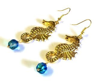 "Gold Seahorse Pierced Dangle Earrings with Blue Green Clear Glass Beads, 2 3/4"" Beach Inspired Jewelry, Gift for Her"