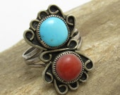 Native American Long Sterling Ring Coral and Turquoise Signed Jewelry Size 8 R7658