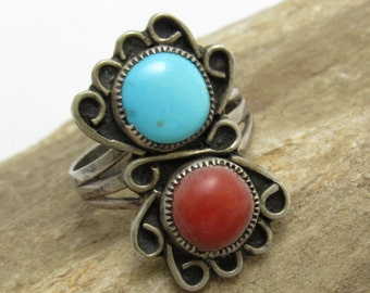 Native American Long Sterling Ring Coral and Turquoise Signed Jewelry Size 8 N7658