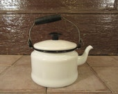 Sweet vintage white enamelware teapot with metal and wood handle and lid- fine condition, nice home decor, functional
