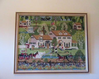 Reduced...Wonderful hand stitched Charles Wysocki Fox Run Inn framed needlepoint- great condition, vivid colors, ready to hang