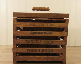 Nice wood egg crate with top handle, removable lid and inner cardboard egg holders-Twin Brook Farms- Garland, Maine