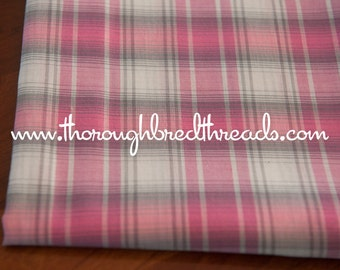 Mad About Plaid - Vintage Fabric Multi-Colored Sweet Pink Gray Plaid