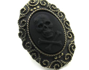 Gothic Skull Ring - Oversized Gothic Lolita Inspired Pirate Cameo Ring in Antiqued Brass with Solid Black Skull and Crossbones Cameo