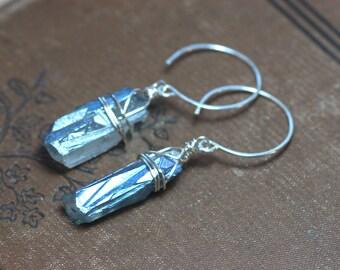 Blue Quartz Crystal Point Earrings Sterling Silver Earrings Rustic Jewelry