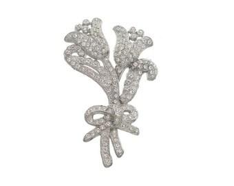 Vintage Art Nouveau Brooch, 1900s Antique Jewelry, Book Piece, Art Nouveau Rhinestone Pin, Wedding Jewelry, Bridal Sash Pin