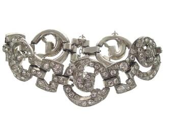 Coro Vintage Art Deco Bracelet, 1918 Antique Rhinestone Cuff, Fine Designer Jewelry, Rhinestone Wedding Jewelry