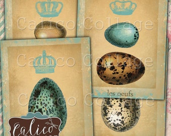 French Eggs, Collage Sheet, Large Tags, Journal Spots, 4x5 Images, Decoupage Sheet, Junk Journal, Hang Tags, Les Oeufs, Digital Tags