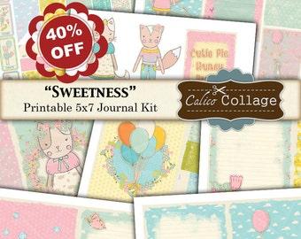 40% off - Sweetness, Printable Journal, Digi Kit, Journal Kit, Digital Kit, 5x7 Journal Pages, Digital Journal Kit, Junk Journal, Scrapbook