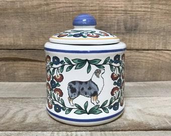 Blue Merle Australian Shepherd Sugar Bowl - Handmade
