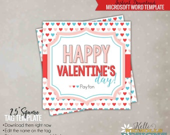 Printable Valentine's Day Gift Tag Template, Pastel Polka Dot Hearts - Instant Download