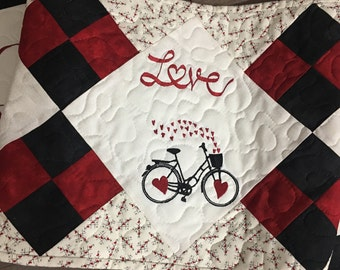 Quilted VALENTINE Table Runner . . . Embroidered BICYCLE  and HEARTS . . . L O V E  . . . Seasonal Decor