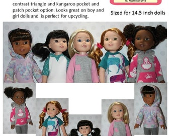 Raglan Shirt for Wellie Wishers PDF Sewing Pattern Sized for 14 inch dolls
