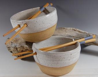 Pottery Rice Bowl Set, Noodle Bowl!  Chopsticks Handmade Serving