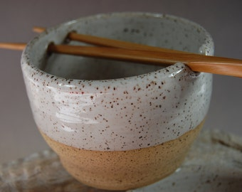 Pottery Rice Bowl,  Noodle Bowl! Chopsticks Handmade Serving