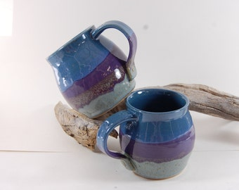 Large Seaside Blue Pottery Mug Handmade Serving Coffee Tea